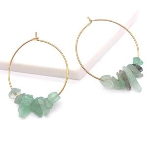 🆕💎 Jade Green Stone Smooth Gold Hoop Earrings